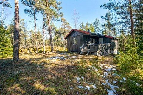 ØSTFOLD: Denne hytta i Svinndal er enkel, vinterisolert  med  solcellepanel. Prisantydning: 475 000,- kroner. FOTO: Megler