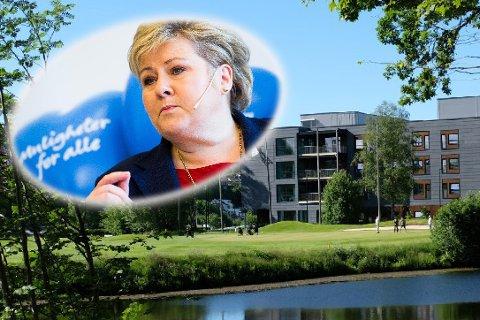 Erna Solberg kommer til Ullerud helsebygg i Drøbak søndag 10. september.