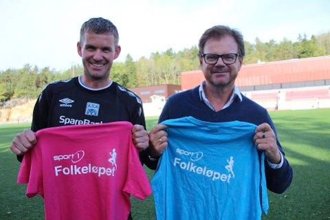 BLI MED: - Alle kan bli med på Folkeløpet, og det er lov å gå, sier Øyvind Kvernen. Til høyre senterleder Ragnar Sørlie, som vil oppfordre butikksansatte ved Drøbak City til å delta i Folkeløpet.