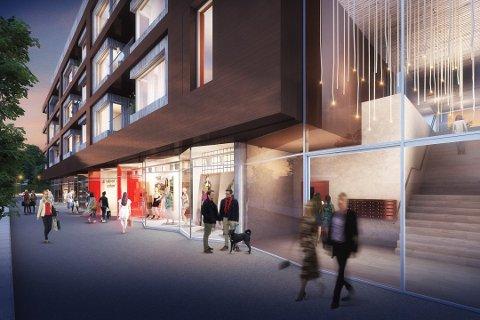 Det nye bygget vis-á-vis Tangen Senter skal bestå av næring i første etasje og leiligheter i etasjene oppover.