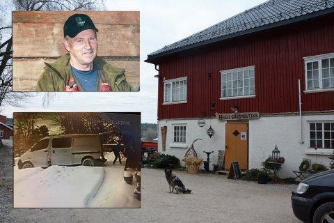 Kan ha sammenheng: Carl Andreas Heltzen (øverst til høyre) fra Hasle gård ser ikke bort fra at det er en sammenheng mellom tyveriene på Hasle gård og andre tyverier i distriktet i det siste. Bildet nederst til venstre viser to menn stjele en snøfreser på Berger mandag formiddag.