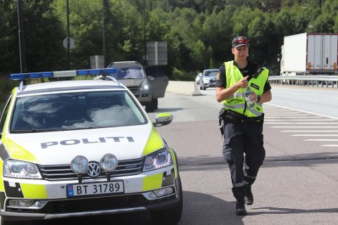 KONTROLL: Her fra UPs kontroll ved Oslofjordtunnelen i juli. En rekke bilister kjørte for fort og fikk forelegg.