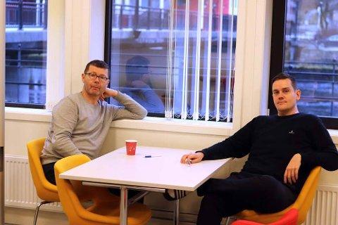 STORT SALG: Her ser du mennene bak prosjektet, Frode Hjelmeland og Stan Solheim,.