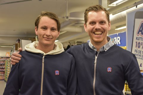 GUTTA KRUTT: Lars Skogmo (36) og Hans-Petter Ullevoldsæter (26) blir de nye kjøpmennene på Rema1000-butikkene i Drøbak.