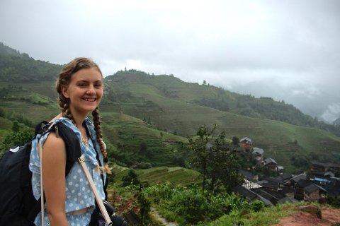 BEREIST: Lilja har vært i en rekke forskjellige land, her er hun ved ristrappene i Longji i Kina.