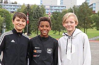 UNGE TALENTER: 12-åringene Bodhi Kjersem Weber, Christian Alexander Høiby og Liam Karlsen fra Nesodden IF gjorde alle sine saker veldig bra i KM.