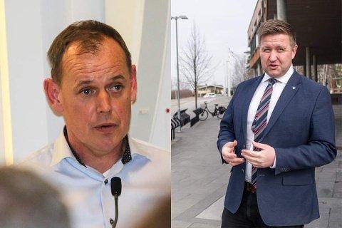Her ser du ordførerne Hans Kristian Raanaas i Frogn og Truls Wickholm på Nesodden.