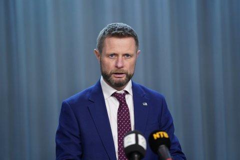 Bent Høie holdt pressekonferanse mandag kveld.