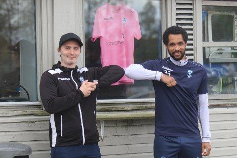 KLAR FOR FOLLO: Follo-trener Christian Qvist Jacobsen (t.v.) er meget godt fornøyd med at René Elshaug valgte å bli både spiller og trener i Follo FK.