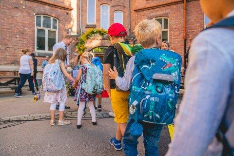 Oslo 20200817.  Elever på Lakkegata skole i Oslo på første skoledag. Foto: Stian Lysberg Solum / NTB