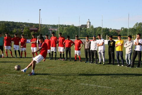 Spiller fra Moan United i aksjon.