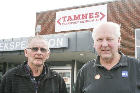 EIERE: Grunnleggeren av Tamnes Transport, til venstre John Tamnes her sammen med daglig leder Tore Velten.