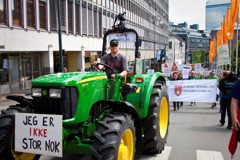 VÆRT PÅ BYTUR FØR: Geir Lohn og den lille grønne traktoren har vært i hovedstaden før.