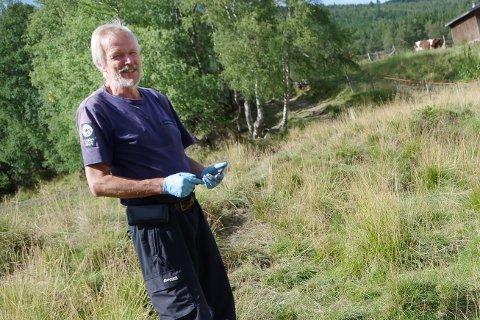 STATENS NATUROPPSYN: Jon Horten jobber i Statens naturoppsyn (SNO). En del av jobben er å dokumentere skader på beitedyr. Her er han på oppdrag i Gammeldalen i Tynset i forbindelse med ulveangrep på sau sommeren 2018.