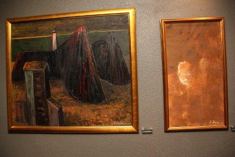 """UNIK SAMLING:  Maleriene """"Katedraler"""" og """"Dobbeltportrett"""" er to av i alt 26 malerier av Olav Dille som er permanent stilt ut ved Røros Hotell."""
