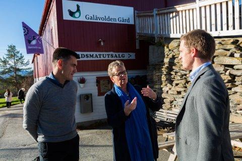 Samtale: Ruteplanlegger Harald Storrønning og adm dir Janne Sollie i AtB i samtale med fungerende ordfører Christian Elgaaen utenfor Galåvolden gård.