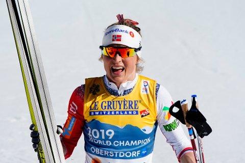 Oberstdorf, Tyskland 20210302.  Therese Johaug i mål under 10 km fri teknikk kvinner under VM på ski 2021 i Oberstdorf, Tyskland. Foto: Lise Åserud / NTB