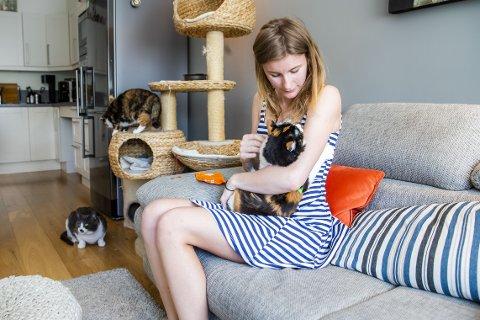 KOSESTUND: Junior, Ann Mariell og Muskat trives hos Randi Myrhaug (23). - Det føles godt å ta vare på dem, sier Randi. FOTO: Håkon Mosvold Larsen / NTB scanpix  FOTO:  /