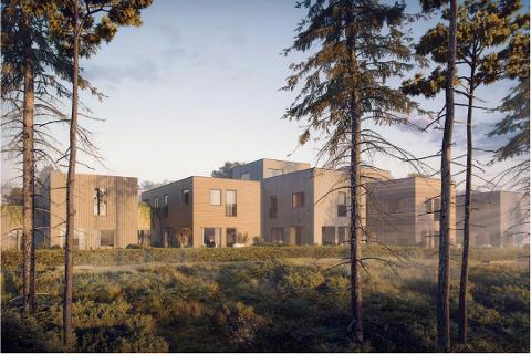 NYTT BOLIGFELT: Solon Eeindom vil bygge 135 boliger på det første delfeltet på Dyster Eldor II. Hele området er regulert til rundt 440 nye boliger. Foto: Solon Eiendom