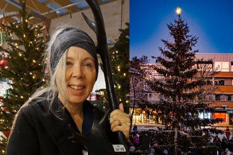 Toril Nikolaisen Kilde mener julestemning i gatene er ekstra viktig i år. På bildet ved siden av er julegrana fra i fjor.