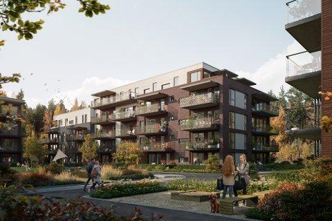 BYGGER UT: Obos Nye Hjem og Løvenskiold Eiendom samarbeider om å bygge blokkleiligheter på Maxbo-tomta i Ås. Illustrasjonen viser den første blokka som skal bygges.