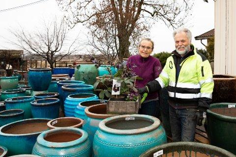 HAR ÅPEN UTEBUTIKK: Åse Sekkelsten og Rora Hunnes har drevet Krukkegården i 32 år. – Vi håper kundene fortsatt kan støtte oss ved å bruke utebutikken, sier de.