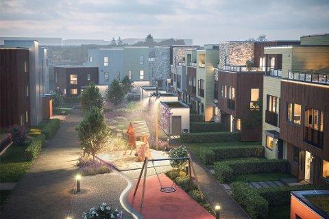 SKAL BYGGE UT: Slik ser OBOS Block Watne for seg at det kan se ut etter at ny rekkehus og leiligheter er bygget på Solberg Øst.