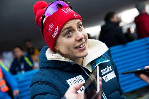 Synnøve Solemdal etter stafett 4 x 6 km skiskyting damer ved World Cup i Ruhpolding, der de norske jentene gikk inn til en 4.plass. Foto: Berit Roald / NTB scanpix