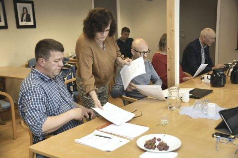 SVART PÅ HVITT: Styreleder Milly Bente Nørsett deler ut en historisk oversikt og regnskap. FOTO: YNGVE LIE