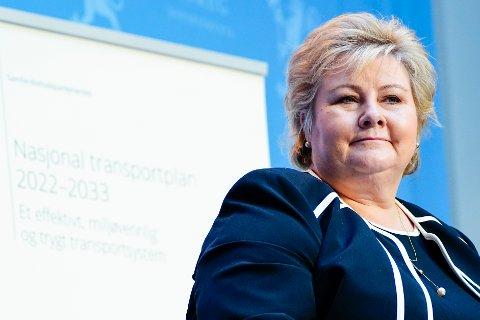 Statsministeren: Erna Solberg under presentasjonen av stortingsmelding om ny nasjonal transportplan  Foto: Terje Pedersen / NTB