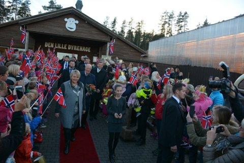 Store og små i Gjerstad stilte opp med flagg da Kongen besøkte Brokelandsheia og Den Lille Dyrehage på tirsdag.