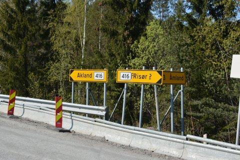 Noen har tatt seg bryet med å dandere Risør-skiltet i Trondalen.