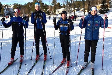 GOD LØRDAG: Gjerstad IL stilte med fire løpere på Høydalsmorennet lørdag ettermiddag. Fra venstre: Fredrik Johnsen, Magnus Sørbø, Halvor Sørbø og Oda Ertzeid.