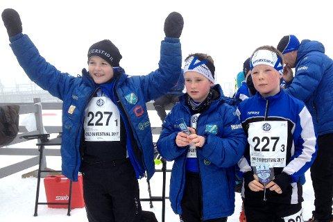 GIL 1 MIX 11-12 ÅR: (fra ventre) Erling Gryting Hafredal, Mathias Songe Aasbø og Martin Strat-Masdalen.