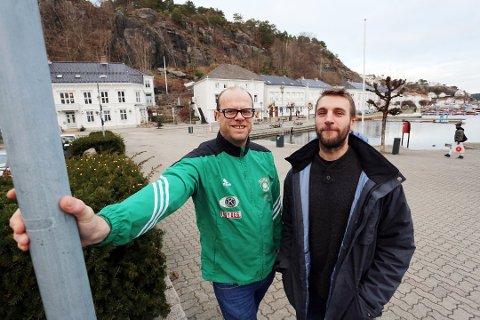 LEDER BYENS FOTBALLHERRER: Rune Norgaard (t.v.) og Øyvind Hageli Quarg. Denne uka ble terminlisten sluppet.