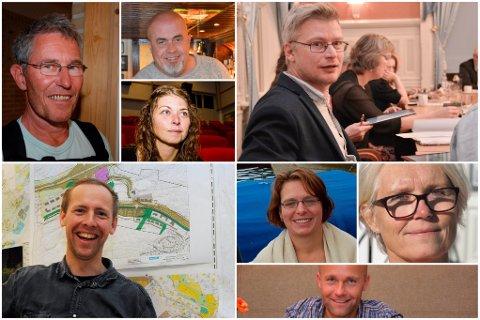 FORSLAG: Disse har sagt ja til å sitte i sentrumsutvalget. Øverst fra venstre: Hans Ellef Høye (Tangen vel), Terje H. Henriksen (Kast Loss), Elen Lauvhjell (varaordfører, Ap), Rune Hansen (MDG), Ragnhild Sigrudsøn (historiker), Dag Songe (H), Andreas Stensland (arkitekt), Unni Olimb Norman (Risør By AS). Gruppa vil i tillegg få ett medlem til, fra politiske rekker.Foto: Arkiv
