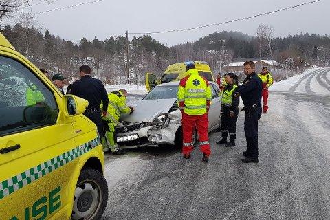 Personbilen kom fra Goderstad, og skal ikke ha klart å stanse i krysset ved Strengereid.