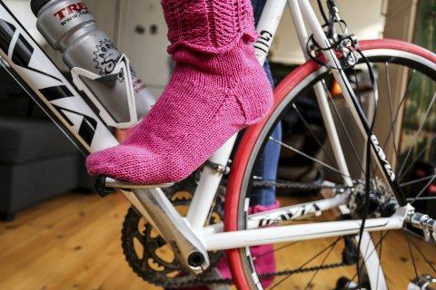 Utstyr: Foreløpig er dette det nærmeste jeg kommer sykkelsko. Det ser jo hvert fall pent ut, eller?