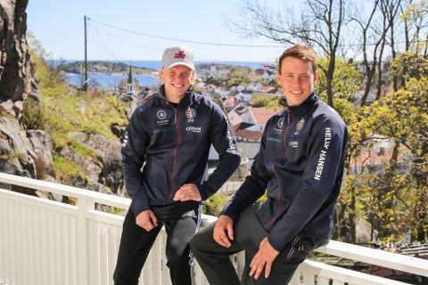 Seilerne Tomas (tv) og Mads Mathisen hjemme i Kranveien for å jobbe og slappe av.
