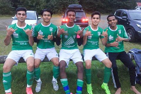 SENKET RANDESUND 2: Risør G16s målscorere. Fra venstre: Ali Sherzad, Naw Naw Saw, Khalid Adel Mahmoud, Matiullah Mohammadi og Fuad Muqtar Qassim.