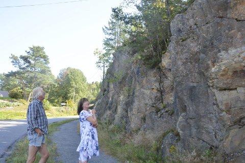 BEKYMRET: Det var 28. august at AAB skrev om Egil og Iren S. Hansen som var bekymret for fjellet langs skoleveien på Hope.F