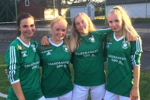 MÅLSCORERE: Fra venstre: Irma Lutvica, Ingrid Emblem Holte, Amalie Olsen og Cecilie Wasler Fone sto for mange av målene mot Just.