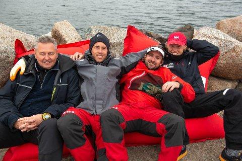 ÅTTENDEPLASS: Risør Seilforening i Mesternes Mester på Åsgårdstrand. Fra venstre: Fritz Lundberg, Mads Mathisen, Morten Røisland og Tomas Mathisen.