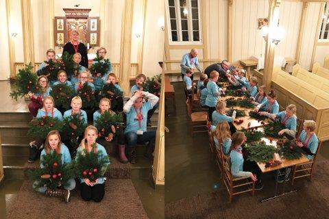 11-åringene fikk en spennende kveld laget julekrans, ringte med kirkeklokkene, fikk lyd i orgelpipene, så etter spøkelser under kirkegulvet og spilte bowling med soknepresten.