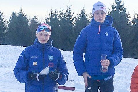 KUN ÉN RASKERE: Fredrik Johnsen (t.v.) tok andreplass i Svarstadrennet, kun slått av Oskar Opstad Vike (t.h.) fra Andebu IL.