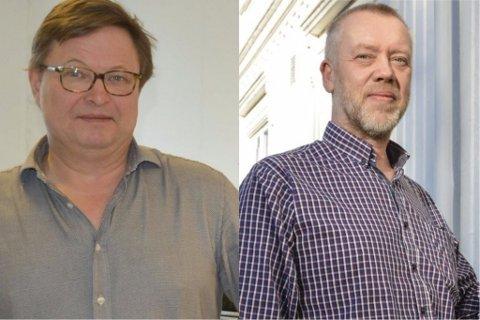 TO AV TOLV SØKERE: Lars Erik Follo, (t.v) som i dag jobber på Risør videregående skole, vil gjerne ta over stafettpinnen etter sin sjef. Søker gjør også John H. Johansen, som i dag er rektor ved Tvedestrand og Vestre Sandøya skole.