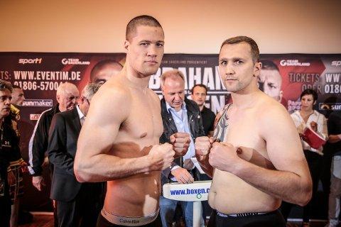 KLAR FOR KAMP: Kai Robin Havnaa (t.v.) hadde ikke tenkt til å la 300 gram stoppe ham fra sin trettende proffkamp mot Frank Blümle.