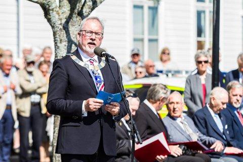 Ordfører Per Kr. Lunden under frigjørings- og veteran-dagen under seremonien på Solsiden i 2018.