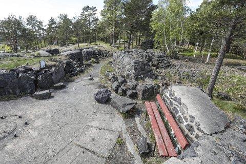 Åpen park: Det gamle forsvarsanlegget har blitt ryddet og raket. Her fra kanonstilling nummer 4, sees den store ryddejobben som Urheia velforening har gjort de siste ukene.foto: Stig Sandmo
