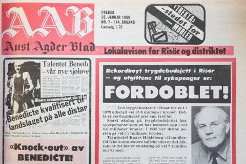 Faksimile av Aust-Agder Blad fredag 25. januar 1980.